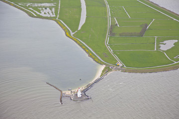 Famous Dutch lighthouse at Marken, The Netherlands from above