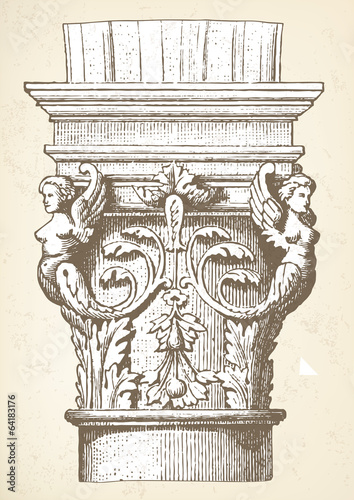 Column capital vintage illustration vector