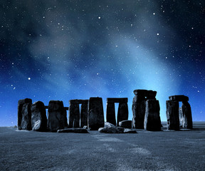 Historical monument Stonehenge in night,England, UK