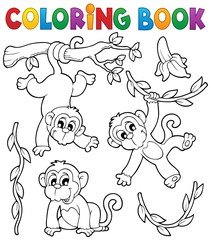 Coloring book monkey theme 1