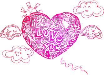 Flying heart with doodles and the words I LOVE YOU