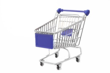 Shopping cart, white isolated