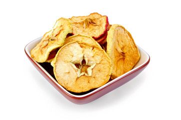 Apple slices of dried in bowl