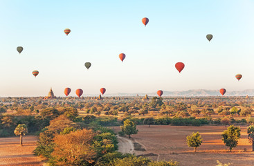 Air balloons over ancient Buddhist temples in Bagan.