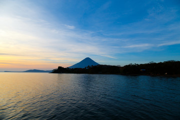 Ometepe vulcano Concepcion view in sunshine