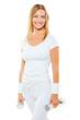 beautiful smiling sportswoman wearing white sports clothes holdi