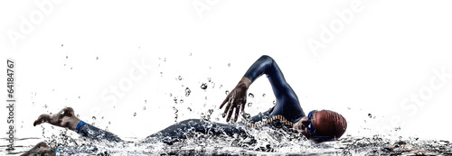 Fotobehang Persoonlijk man triathlon iron man athlete swimmers swimming