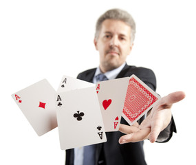 Man playing with poker