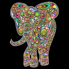 Elephant Psychedelic Pop Art Design on Black