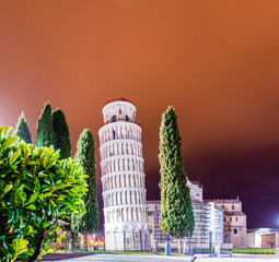 Famous leaning tower of Pisa during evening hours