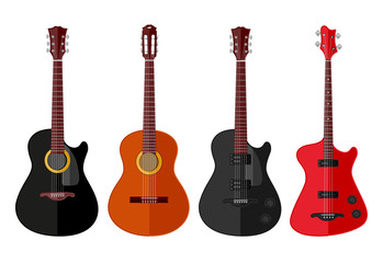 Set of isolated guitars. Flat design