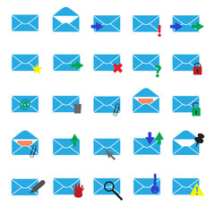 computer mail simple light blue icons eps10
