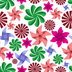 colorful pinwheel toys seamless pattern eps10