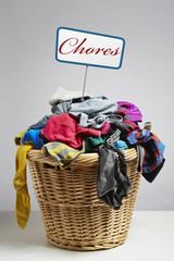 Overflowing laundry basket