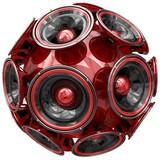 Audio speakers sphere isolated on white