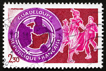 Postage stamp France 1984 Guadeloupe, Map