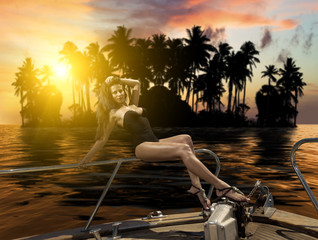 Young sexy woman on her private yacht at sunset