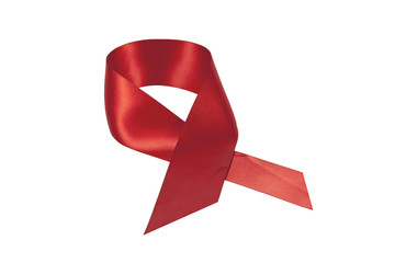 Red Satin Ribbon in Support of Aids Awareness