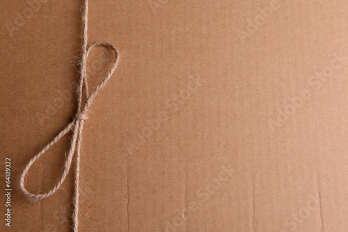 String tied in  bow on brown paper packaging close-up