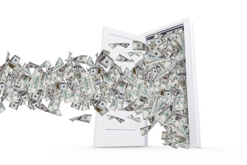 Dollar Banknotes in White Door