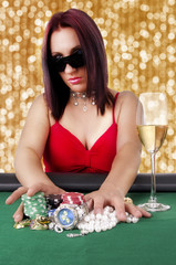 Woman playing poker