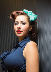 Hispanic female in retro style head shot