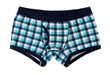 Men's boxer shorts in blue and gray checkered - 64191144
