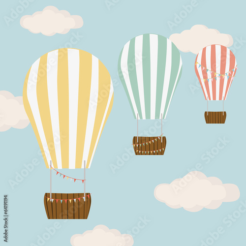 Hot air balloon in blue with clouds sky  vector background