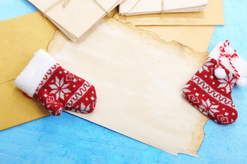 Letter to Santa Claus on wooden table close-up