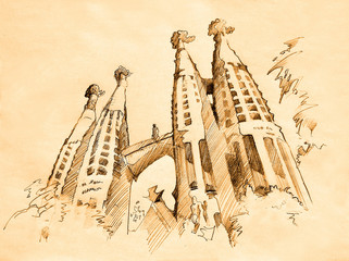 temple of Sacred Family in Barcelona, drawing