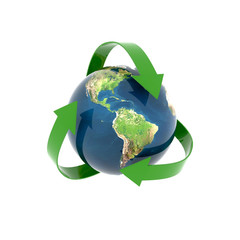 recycling earth globe isolated