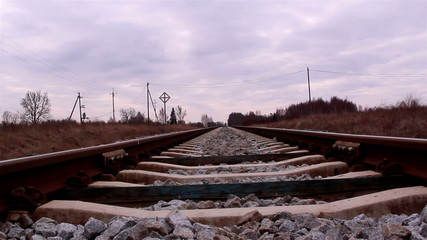 The view of the railway of the train