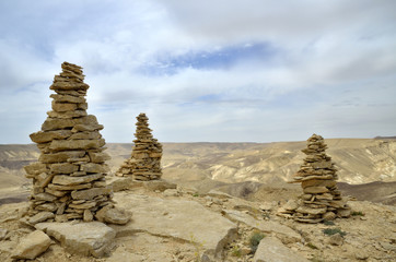 Summit Ido cairns in Negev desert.