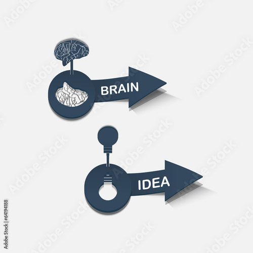 Realistic web item arrow icon brain, idea
