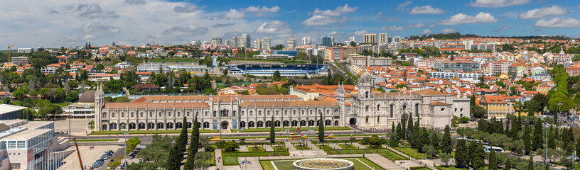 Panorama of Jeronimos Monastery in Lisbon, Portugal