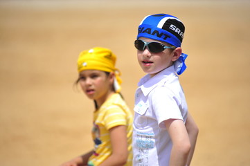 Children watching the show of horse riding in Caesarea