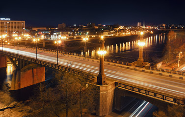 Kirov's bridge at night.