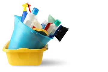Bacinella detersivi e secchio per pulizie