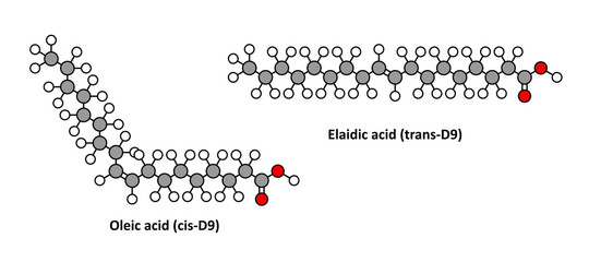 Oleic acid (omega-9, cis) and its trans isomer elaidic acid.