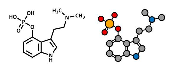 Psilocybin mushroom psychedelic drug molecule.