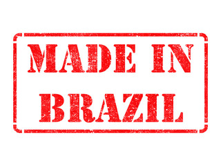 Made in Brazil - inscription on Red Rubber Stamp.