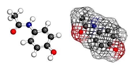 Paracetamol (acetaminophen) analgesic drug molecule.