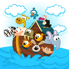 Noah's Ark with Animals - vector illustration