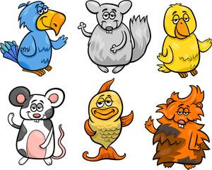 cute pets set cartoon illustration