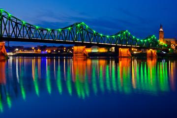 Beautiful Highlighted bridge in Wloclawek