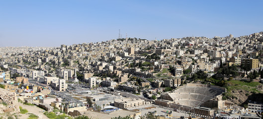 Panoramic view of Amman's skyline, Jordan