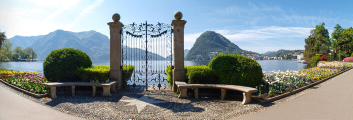 The gate to the lake in the park of Villa Ciani