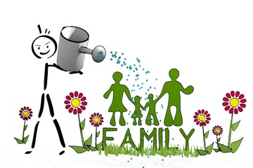 stick man watering a family