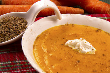 Carrot Soup with Cumin and Yogurt