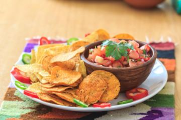 Nachos with homemade hot salsa